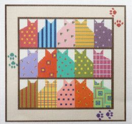 15 Cats in 15 Colors Needlepoint Canvas with Stitch Guide