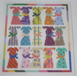 15 Dogs in 15 Colors Needlepoint Canvas with Stitch Guide