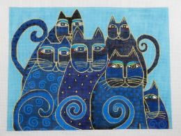 CLEARANCE Indigo Cats Needlepoint Kit