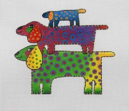 CLEARANCE Laurel Burch Dog Pyramid Needlepoint Canvas