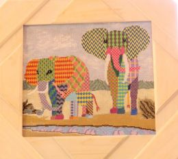 Elephant Family in Africa Needlepoint Canvas   MARKED WAY DOWN