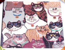 CLEARANCE Mona Lisa Cats *Stash Threads* Needlepoint Canvas