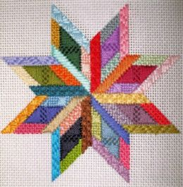 Star Ornament, Design #1 Needlepoint Canvas with Stitch Guide