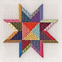 Star Ornament Design #2 Needlepoint Canvas with Stitch Guide